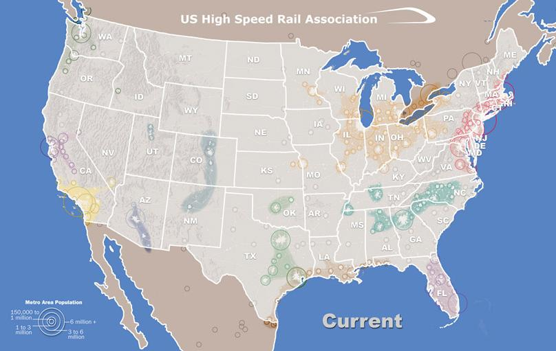 Advancing Americas Public Transportation System High Speed Rail In - Map-of-us-rail-network